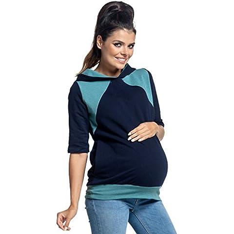 Zeta Ville - Felpa 2in1 per allattamento cappuccio top prémaman - donna - 334c - Out Pannello