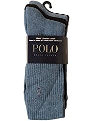 Polo Ralph Lauren 3-Pack Crew Pony Player Socks, Blue Size