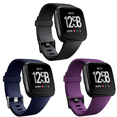 HUMENN Für Fitbit Versa Armband/Fitbit Versa Lite Armband, Classic Weiches TPU Sports Ersetzerband Verstellbares Zubehör Uhrenarmband für Fitbit Versa Smartwatch Groß Schwarz + Blau + Pflaume