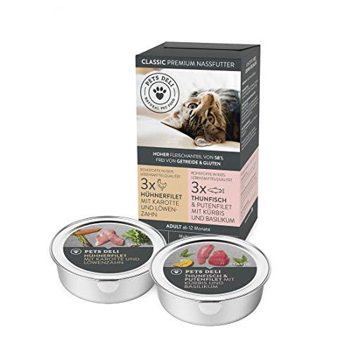 Nassfutter für Katzen 6 x 85 g | Premium-Qualität | 6er-Multi-Pack Vorratspackung | Gesundes Katzenfutter nass mit hohem Fleischanteil | 100% Lebensmittelqualität, getreidefrei, ohne unnötige Zusätze