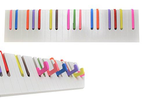 Klavier Holz Ständer (Euro Tische Garderobe Hakenleiste aus Holz Bunt - perfekt geeignet als Kindergarderobe mit bunten & ausklappbaren Haken)
