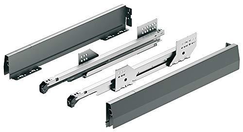 Schubladen-Schienen Vollauszug Moovit MX Schubkasten-System mit Dämpfung | Nennlänge 400 mm | Zargenhöhe 92 mm | anthrazit | Kugelführung Tragkraft 30 kg | MADE IN GERMANY | 1 Paar - Auszüge