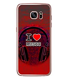 Samsung Galaxy Note 7, Samsung Galaxy Note 7 Back Cover I Love Music Headphone Icon Design From FUSON