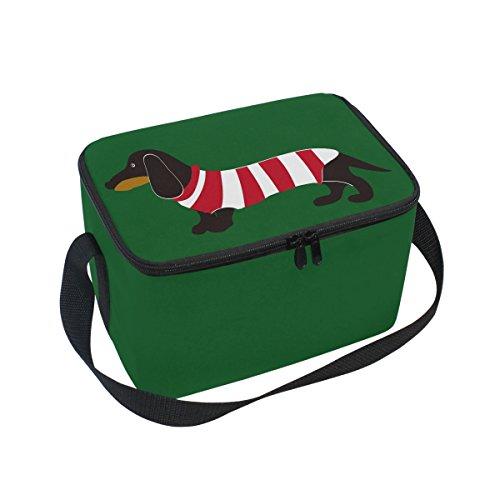 Domoko Weihnachten Dackel Welpe in grün gestreift Isolierte Lunch Tasche Tasche Cooler Lunchbox für Picknick Schule Frauen Herren Kinder