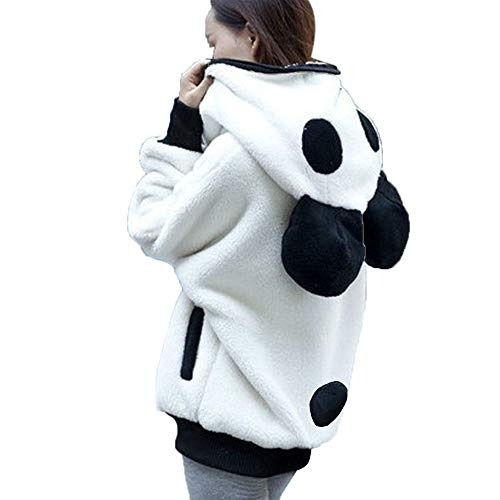 pullover teenager mädchen Liusdh Cute Bear Ear Panda Warm Hooded Zip Up Coat Hoody Outerwear Sweatshirt Blouse for Lady(White,XL) -