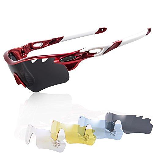 Occhiali Bici Corsa Polarizzati KuKoTi con 5 Lenti Intercambiabili Occhiali da MTB Polarizzati Invernali Antifog e Anti UV Occhiali Running Antivento