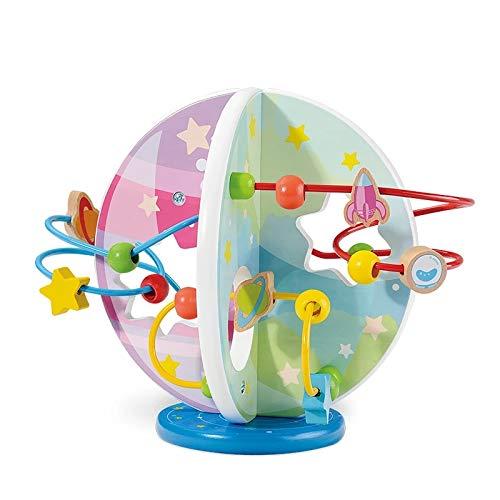 Juguete Laberintos de Abalorios Madera con Forma de Laberinto, Juguetes de Madera para Niños de Roller...