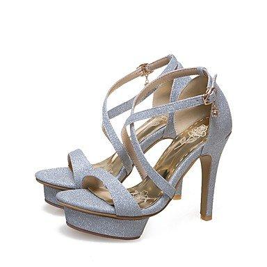 Sandales femmes chaussures d'été Club Slingback Gladiator Nouveauté Semelles Lumière & MaterialsOffice sur mesure robe de soirée partie & Carrière Silver