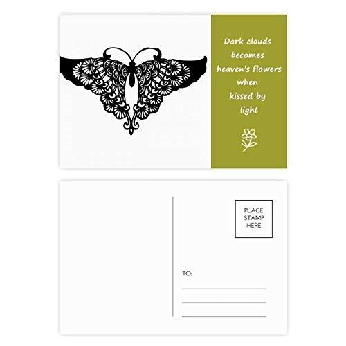 Postkarten-Set Schmetterling mit Rüschen, Flügel-Silhouette, Poesie, Danksagungskarte, Postkarte, Seite 20 Stück - Seite Rüschen