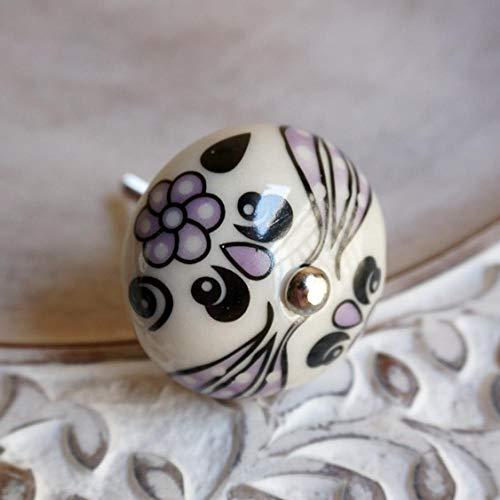 Nummer 9 Applique (ZTZT Handbemalte Keramikapplikation American Jane Retro Antik Kleiderschrank Schranktür Schublade kleiner Griff Runde Applikation Farbe Nummer 9)