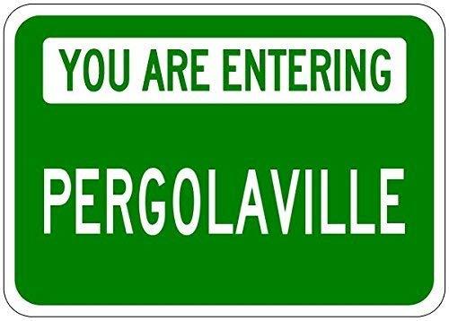 You Are Entering Pergolaville - Customized Pergola Lastname - 12'X16' Metal Tin Sign Aluminum Signs