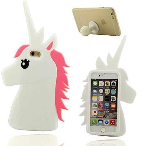 Schutzhülle Apple iPhone 6 Plus 6S Plus 5.5 inch Weich Hülle, Cartoon 3D Schön Pferd Gestalten Weich Silikon Case x 1 Silikon Halter Weiß