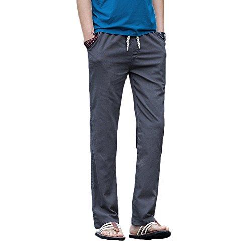 Homme Pantalon en Lin de Loisirs Respirant avec Poches Taille Elastique Cordon de Serrage Gris