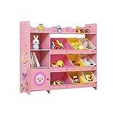 Bücherregale CJC Kinder Spielzeug Lager Einheit Mit 4  Tier 9 Kunststoff Boxen Schlafzimmer Spielzeug Buch Veranstalter (Farbe : Pink, größe : 114 * 30 * 100CM)