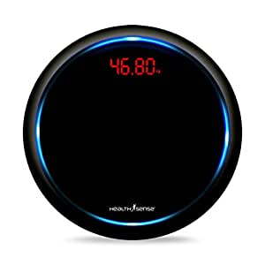 Health Sense PS139 Blue Orbit Digital Personal Weighing Scale (Jet Black)