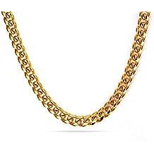 Vnox Chain Link in acciaio inox Chunky cubano uomo collana d'oro,7 millimetri larghezza, 55 centimetri di