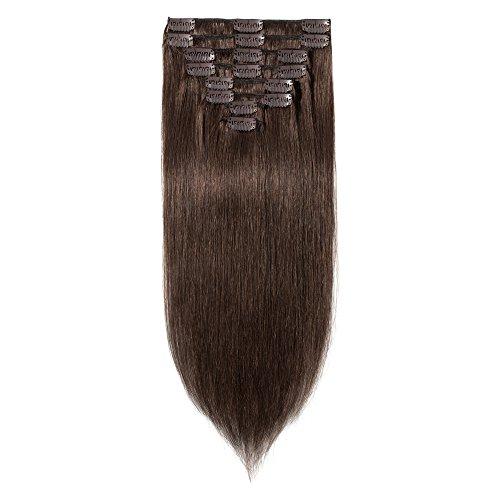 100% Remy-Echthaar Clip-In-Extensions für komplette Haarverlängerung 90g-40cm (#4 Mittelbraun)