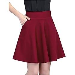 Mujer Ocio Elasticidad Color Sólido Faldas Plisadas Corto A-Línea Falda con Bolsillo Vino Rojo M