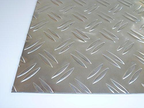 B&T Metall Aluminium Riffel-Blech Duett 3,5/5,0mm stark | Tränen-Blech Zuschnitt, Größe 30 x 100 cm (300 x 1000 mm)