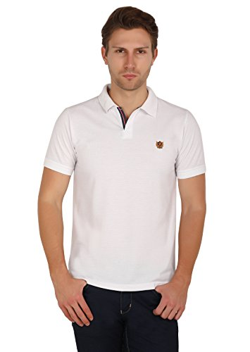 Uni Colors Polo Men's Half Sleeves Polo T-Shirts in Johny Collar Pattern (White) (Large)