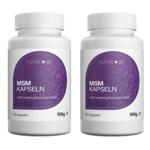 Natrea MSM Kapseln | 99,9% reines, hochdosiertes, organisches Schwefel Pulver ✔ 2 x 150 Kapseln à 500mg MSM (Methylsulphonylmethan) ✔ ca. 150 Tage Anwendung -