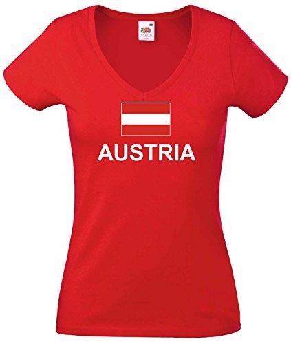 world-of-shirt Damen T-Shirt Österreich weiss von XS-XXL|r-xl