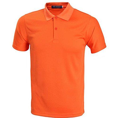 Demarkt Herren Poloshirt Polo T-Shirt Polohemd Kurzarm Polyester Orange XXXL Orange x L