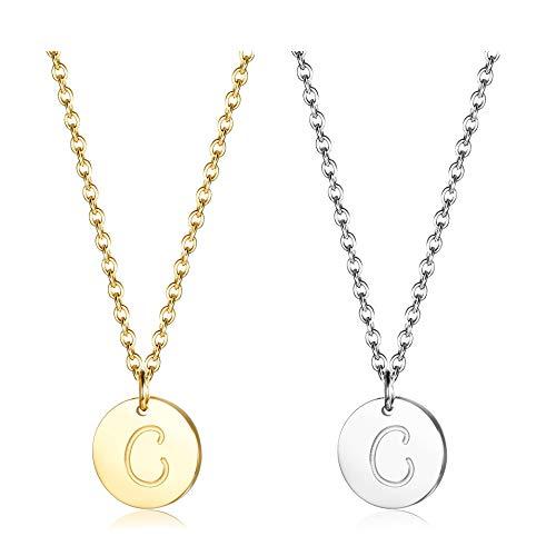 Finrezio Zwei Edelstahl Halskette mit Buchstaben Runder Initial-Anhänger Silberton und vergoldet 18K Buchstabenhalskette für Damen Buchstabe C