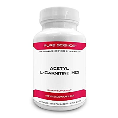 Pure Science Acetyl L-Carnitine HCI 525mg - Great for Mesomorph Body Type, Immunity, Detox & Brain Support – 100 Vegetarian Capsules of Acetyl L-Carnitine Powder