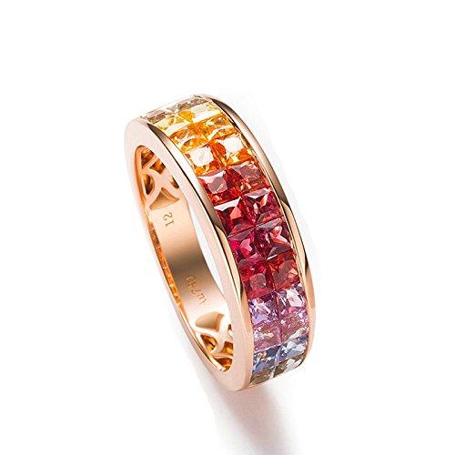 Beydodo Damen Ring 18 Karat (750) Rotgold Solitärring 2.562ct Saphir Diamant-Ring Prinzessschliff Hochzeitsringe Verlobung Ring Rosegold Größe 56 (17.8) -