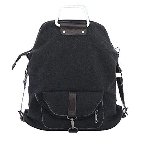 Imagen de smarstar 2 en 1  casual de lienzo bolso bandolera para mujeres  escolar  para viajar  color negro