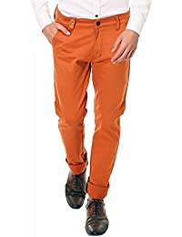 Nimegh Royal Orange Colored Cotton Casual Solid Trouser For Men's