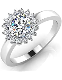 IskiUski White Gold And American Diamond Ring For Women - B075VH9QJT