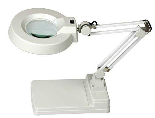 Deckey Lupa con luz Lámpara de mesa de manicura Brazo Flexible (aumento de 10 dioptrías, diámetro del vidrio 12 cm 22 w)
