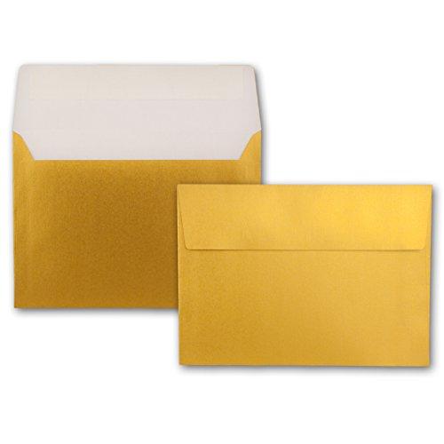 75x Gold-Metallic Brief-Umschläge DIN C5-162 x 229 mm - Haftklebung - glänzende Kuverts für große Einladungen und Karten, Hochzeit & Weihnachten