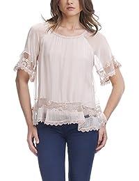 Laura Moretti - Blusa de seda asimétrica con bordado de flores y encaje en la parte inferior y mangas