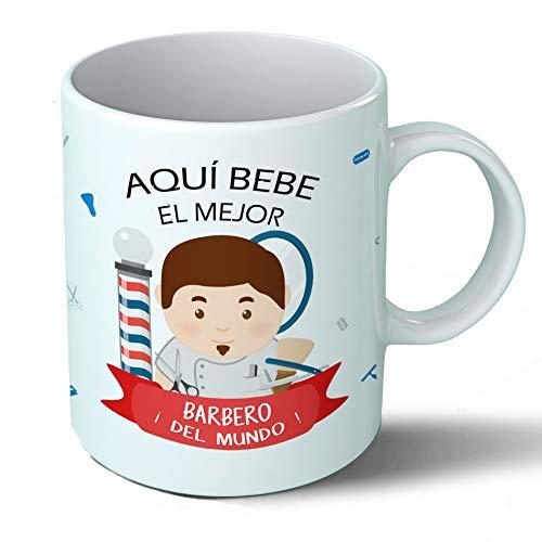 Planetacase Taza Desayuno Aquí Bebe el Mejor barbero del Mundo Regalo Original peluqueros Ceramica 330 mL