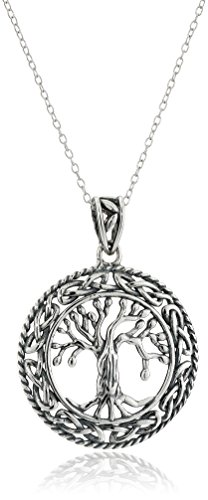 Amazon Rhodium-Plated Sterling Silver Celtic Tree of Life Pendant Necklace 18