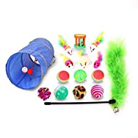 Cat Toys Kitten Toys Assortments, Variety Pack for Cat Tunnel, Bell Crinkle Balls, Feather Wand, Cat Teaser Toy, Cat Toys Set for Cat, Puppy, Kitty, Kitten