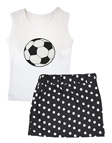 petitebelle Sport Kleid Fußball weiß Weste Polka Dots Schwarz Rock Set–74bis 122 Gr. Large, schwarz (Fußball-kleid)
