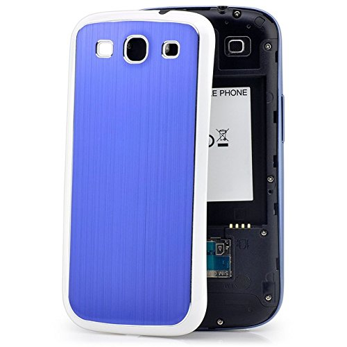 Saxonia Samsung Galaxy S3 Hülle Brushed Aluminium Case Slim Back Cover Schutzhülle Blau