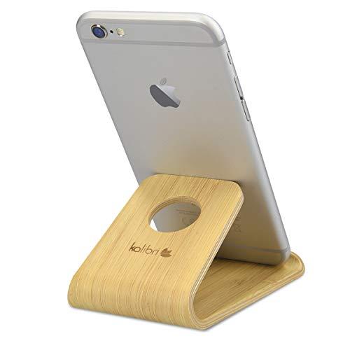 kalibri Handy Halterung Smartphone Ständer - Universal Halter kompatibel/Ersatz für iPhone Samsung iPad Tablet u.a. - Tisch Stand Dock Bambus - Hellbraun