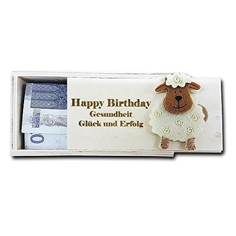 Holz Geschenk Kistchen für Geldgeschenke oder Lottoscheine etc. mit personalisierter Gravur roh, ca. 11,5 x 6 cm mit Gravur Ihres Namen, Motives oder / und Wunschtext