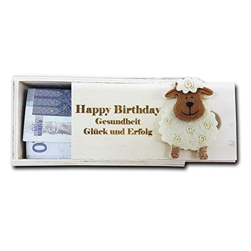 Holz Geschenk Kistchen für Geldgeschenke oder Lottoscheine etc. mit personalisierter Gravur roh, ca. 11,5 x 6 cm mit Gravur Ihres Namen, Motives oder / und Wunschtext Schlüssel Und E-mail-aufhänger