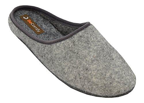 Big Size Herren Komfortabel Echtleder/Filz Hausschuhe Lederhausschuhe Filzschuhe große Größen 47 48 49 50 (47, FD06 Grau Filzsohlen)
