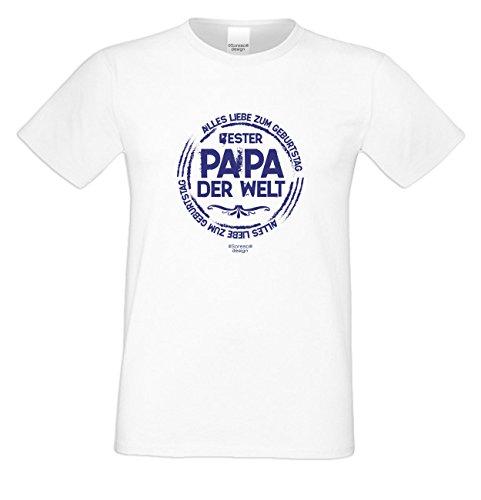 Herren Sprüche Fun T-Shirt wunderschönes Geburtstags-Motiv-Geschenk Bester Papa der Welt für Ihren Vater auch 3XL 4XL 5XL Farbe: weiss Weiß