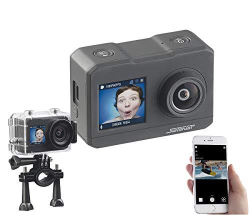 Somikon 4K Action Cam: UHD-Action-Cam mit 2 Displays, WLAN und Marken-Bildsensor, IPX8 (Unterwassercamera)