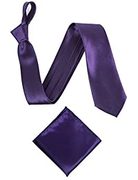 "Men's or Boy's Satin 3"" Classic Tie and Pocket Handkerchief Set - Various Colours"