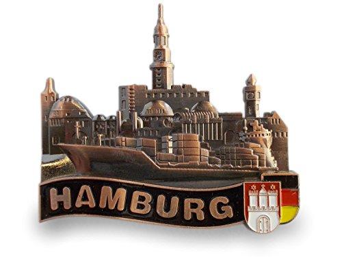 Unbekannt Kühlschrankmagnet Metall-Magnet | Hamburg Skyline Landungsbrücken Bronzefarben -
