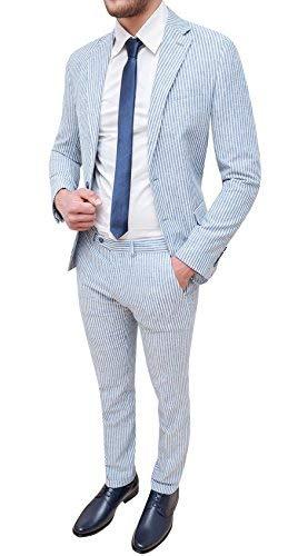 Abito completo uomo sartoriale in lino slim fit vestito elegante estivo (50, celeste)